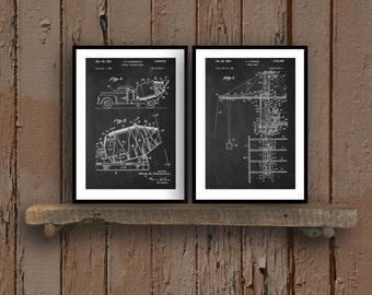Construction Patent Prints  Set of 2  Construction Poster Tower Crane Blueprint Concrete Mixer Patent Construction Decor sp53