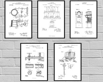 Beer Patents SET of 5 Prints Beer Poster Beer Patent Beer Print Beer Art Beer Decor Beer Blueprint Beer Sign Beer Wall Art sp468