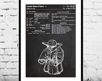 Star Wars Yoda Patent Yoda Poster Yoda Print Yoda Art Yoda Decor Yoda Wall Art Yoda Blueprint p1420