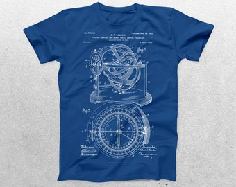 Nautical Compass T-Shirt, Nautical Compass Blueprint, Patent Print T-Shirt, Nautical Shirt, Nautical T-Shirt, Sailor Gift p219