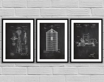Farm Related Patent Set of THREE, Farm Invention Patent, Farm Poster, Farm Print, Farm Patent, Farm Inventions SP466