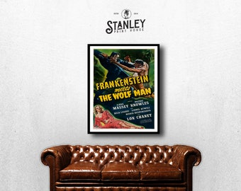 MOVIE poster vintage Frankenstein Meets The Wolf Man Classic Horror space poster Poster Art Vintage Print Art Home Decor movie poster sp634