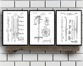 Skiing Related Patent Set of THREE, Ski Invention Patent, Ski Poster, Ski Print, Ski Patent, Skiing Inventions SP168