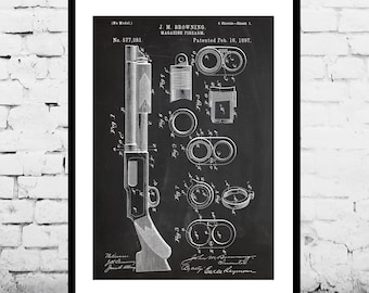 Browning Magazine Firearm Gun Poster Browning Magazine Firearm Patent Browning Magazine Firearm Print Gun poster Gun Print Gun Decor p1241
