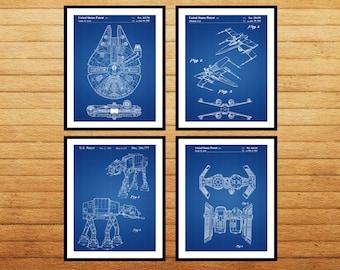 Star wars patent Star Wars Patent Print Tie Bomber Xwing ATAT Star Wars Poster Star Wars Patent Millennium Falcon Star set of 4 SP538