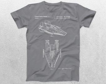Star Wars A Wing Patent T-Shirt, A Wing Blueprint, Star Wars Patent Print T-Shirt, Star Wars T-Shirt, Star Wars Gifts, p924