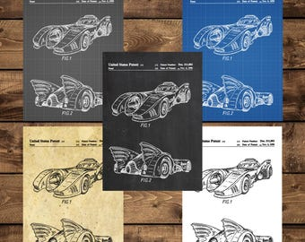 INSTANT DOWNLOAD - Batman Batmobile Patent, Batman Batmobile Poster, Batman Batmobile Print, Batman Batmobile Blueprint