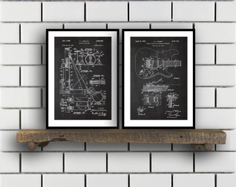 Rock n Roll Invention Poster  2 PACK set Music Patent Instrument Prints Guitar Gifts Drum Art Music Wall Decor Musician Wall Art SP210