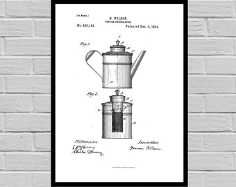 Coffee Related Patent - Coffee Art - Coffee Poster - Coffee Grinder Patent - Percolator Patent - French Press Patent p502
