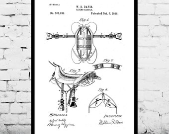 Horse Saddle Print, Equestrian Decor, Equestrian Art, Horse Saddle Patent, Equestrian Wall Decor, Horse Art, Horse Decor, Horse Print p05