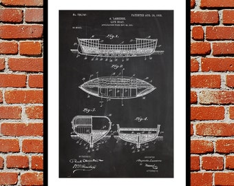 Lifeboat Patent Lifeboat Poster Lifeboat Blueprint  Lifeboat Print Lifeboat Art Lifeboat Decor p401
