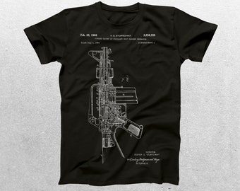 M-16 Rifle Patent T-Shirt, M-16 Rifle Blueprint, Patent Print T-Shirt, M-16 Rifle Shirt, Gun Enthusiast Shirt, Military Gift p198