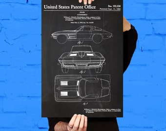 Corvette Stingray Car Poster, Corvette Stingray Patent, Corvette Stingray Blueprint, Corvette Stingray Print, Corvette Stingray Art p1098