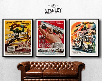 MOVIE posters set of 3 vintage movies Classic Horror Vintage b house of creature Poster Art Vintage Print Art Home Decor monster sp594
