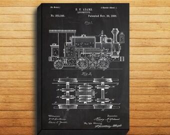 CANVAS  Locomotive Train Art Locomotive Print Locomotive Patent Locomotive Art Locomotive Blueprint Locomotive Train Decor p196