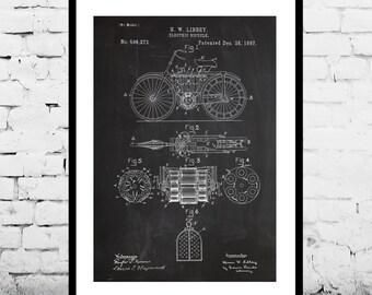 Motorcycle Patent, Motorcycle Poster, Motorcycle 1897 - Motorcycle Decor - Patent Print Poster Wall Decor p1370