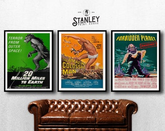 MOVIE posters set of 3 vintage movies Classic Horror Movie Film Poster bundle pack Poster Art Vintage Print Art Home Decor monster sp589
