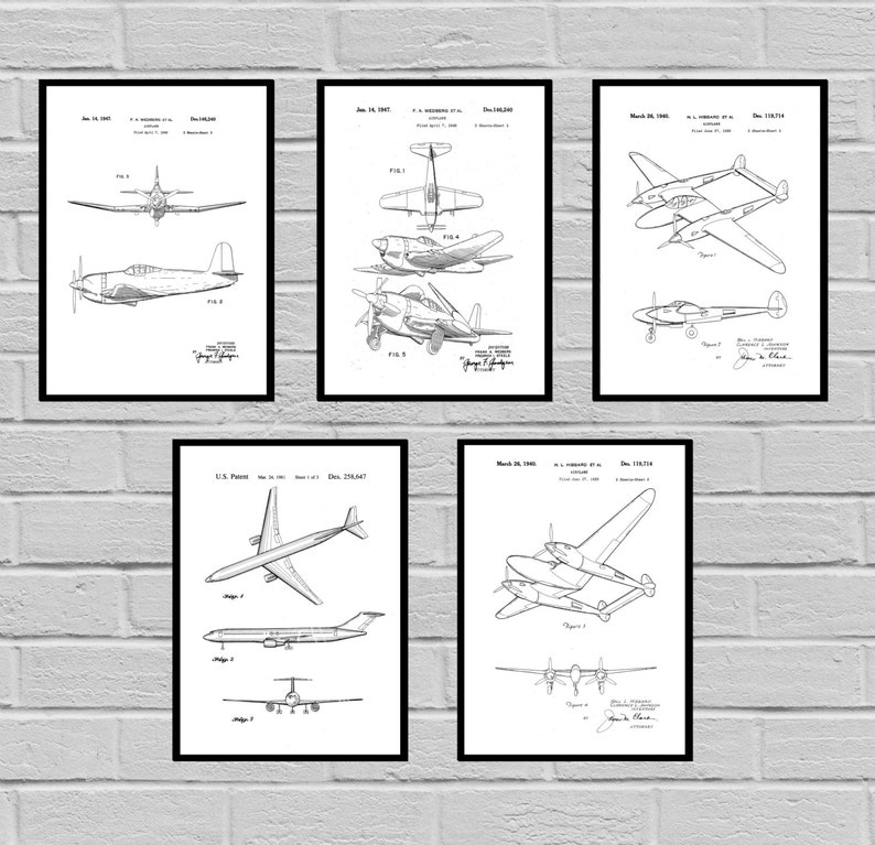 Airplane Patent SET of 5 Aircraft Poster Airplane Art Aviation image 0