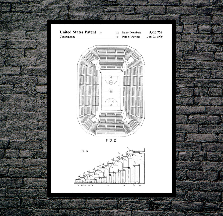 Basketball Court Print Hoop Poster Diagram Patent Decor Art P041