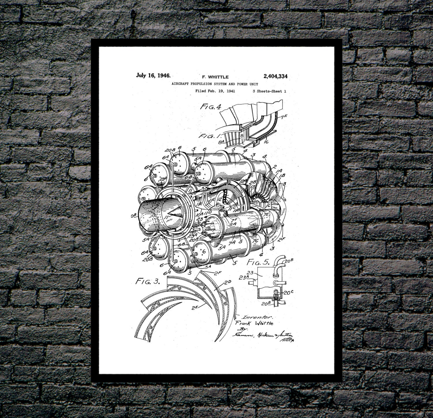 Jet Engine Patent Poster Blueprint Diagram Art Print Wall Airplane P393