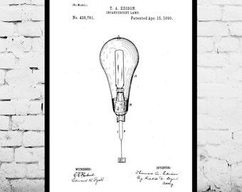 Light Bulb Print, Light Bulb Poster, Light Bulb Patent, Light Bulb Decor, Light Bulb Art, Light Bulb Blueprint, Light Bulb Wall Art