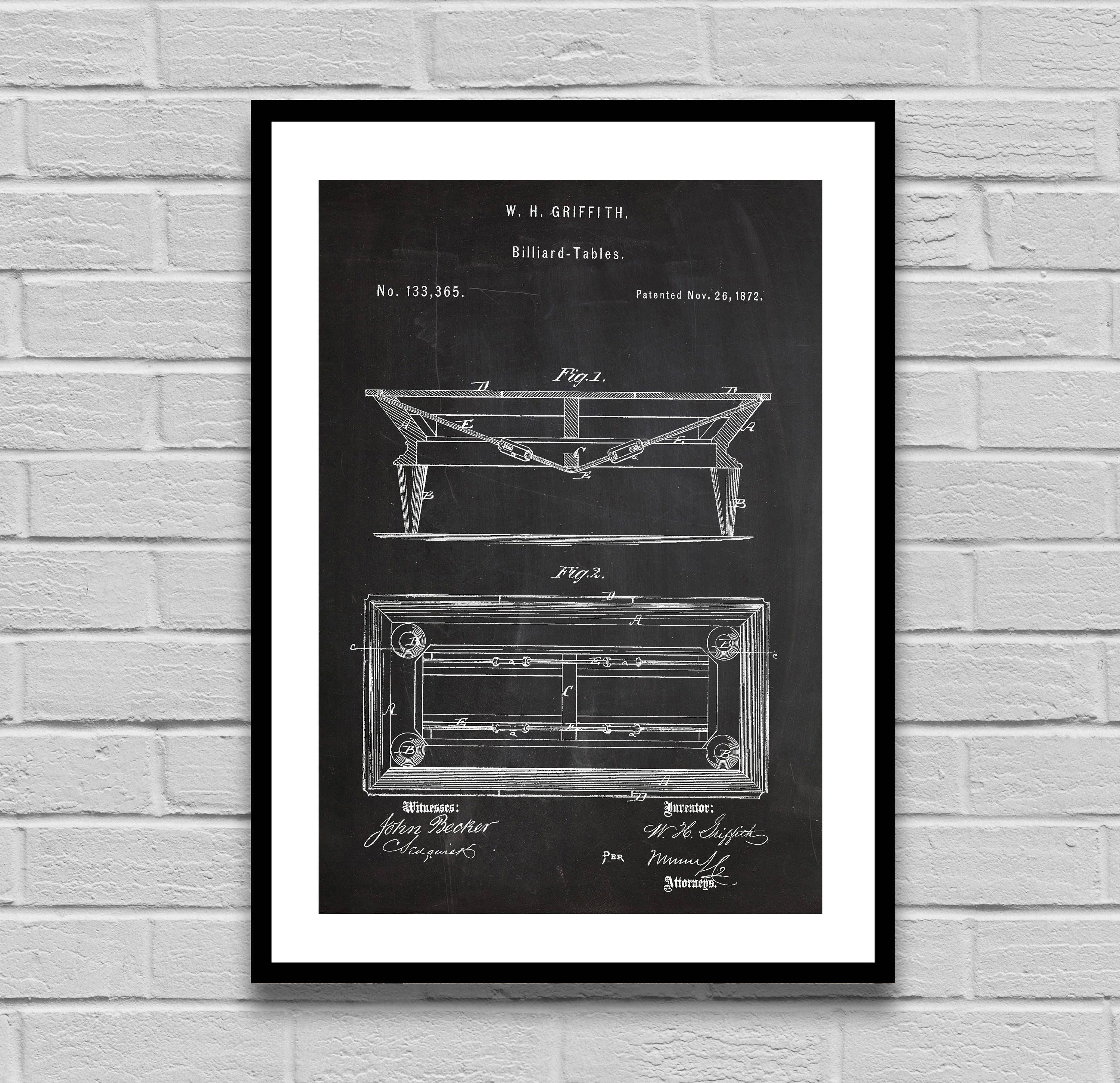 Billiard Table Patent Patent Poster Pool Table Blueprint Billiard - Pool table blueprints