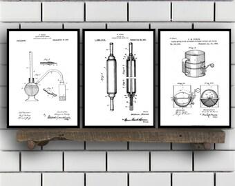 Baking Patent Poster set of 3 - Baking Powder tester - flour sifter Poster - Kitchen Patent - Kitchen Wall Art - Cooking Art - Kitchen