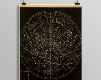 Vintage stars/heavens print,  astronomy print, zodiac, constellations, Celestial Maps, Telescope, Planets, Astronomy Illustration, 475