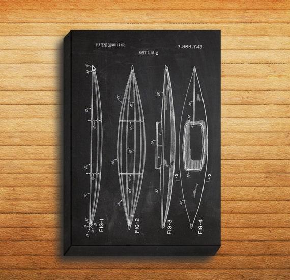 canvas kayak patent kayak poster kayak blueprint kayak print etsy