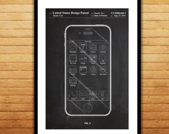 Iphone patent poster etsy more colors canvas iphone ios software malvernweather Image collections