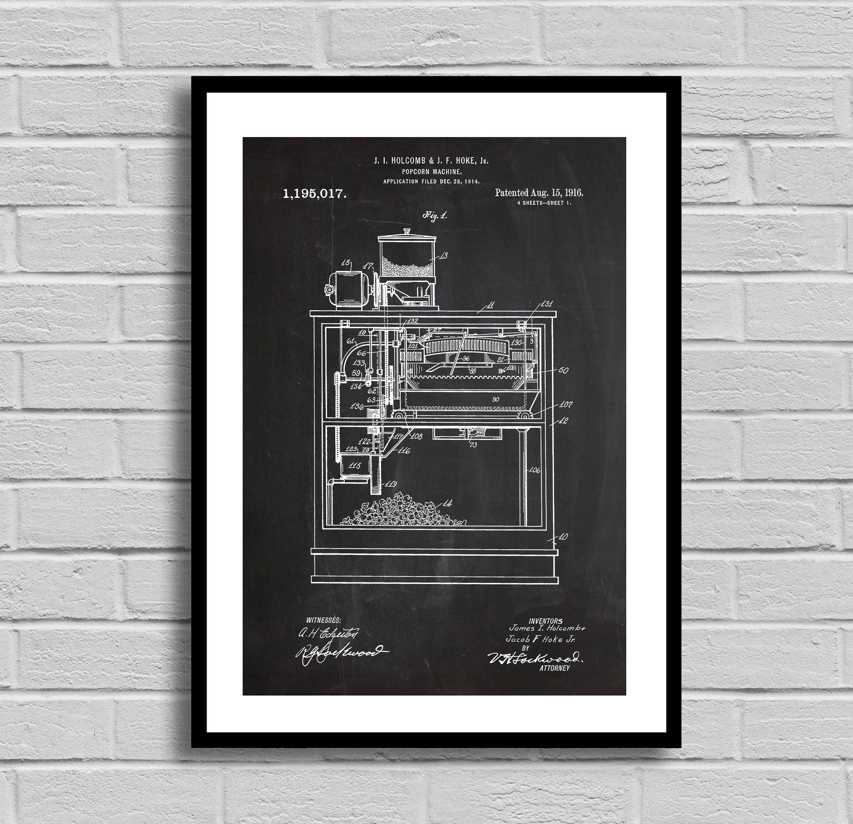Popcorn Machine Patent Popcorn Machine Patent Poster Popcorn Machine Blueprint Popcorn Machine Print Movie Theater Decor Vintage Decor P1036