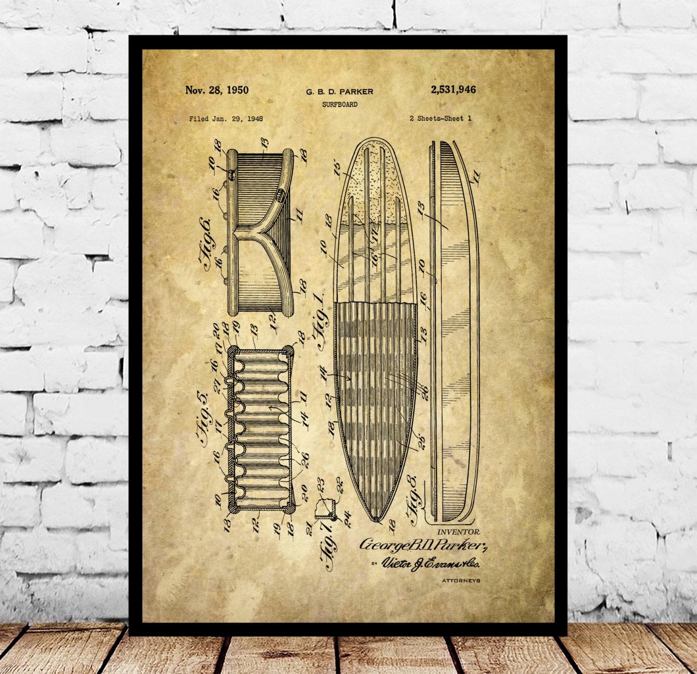 Surf Blueprint Patent Poster, Wall Art Poster, Surf Print, Wall Art ...