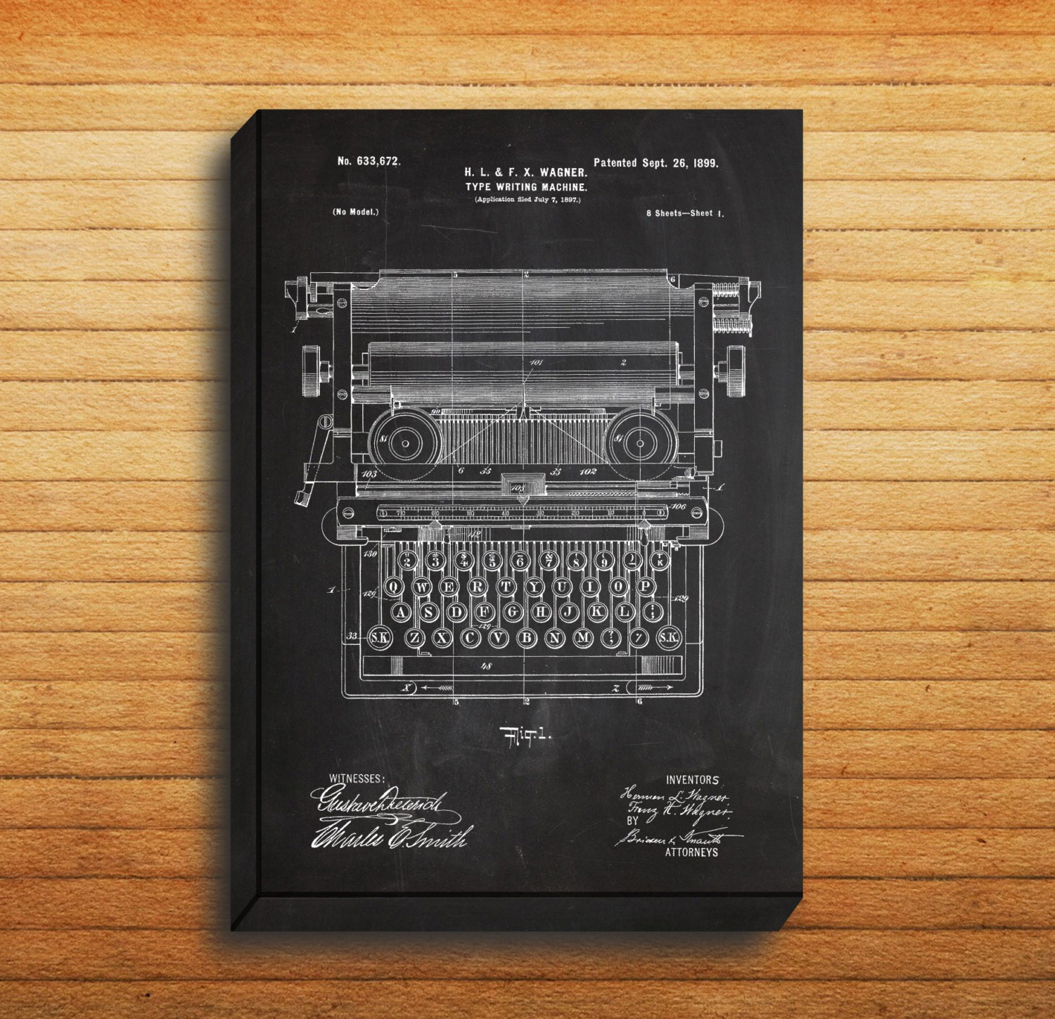 CANVAS Typewriting Machine Patent Typewriting Machine Poster