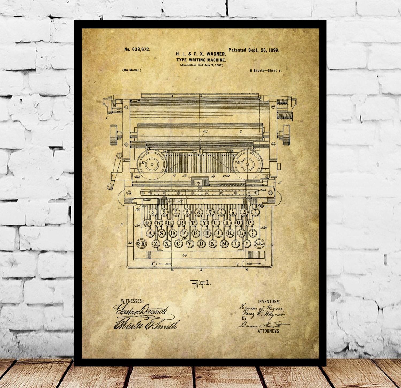 Typewriter Print Typewriter Poster Typewriter Patent Typewriter ...