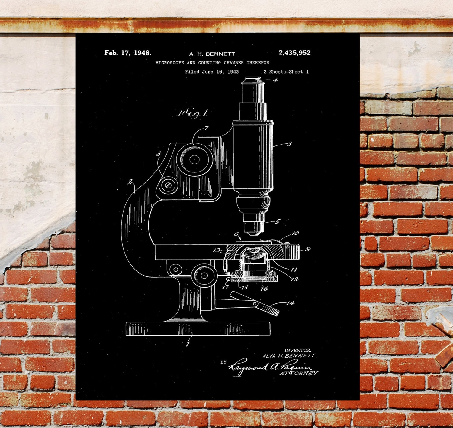 Vintage microscope Microscope Medical equipment Art Black and