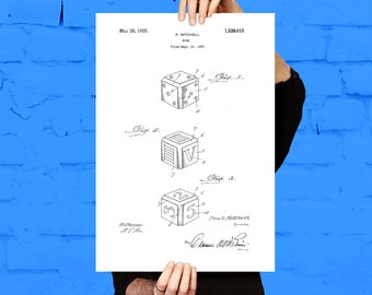 Playing Dice Patent, Dice Poster, Dice Print, Game Dice Art, Dice Decor, Dice Blueprint, Playing Dice Patent, Game Room Wall Art