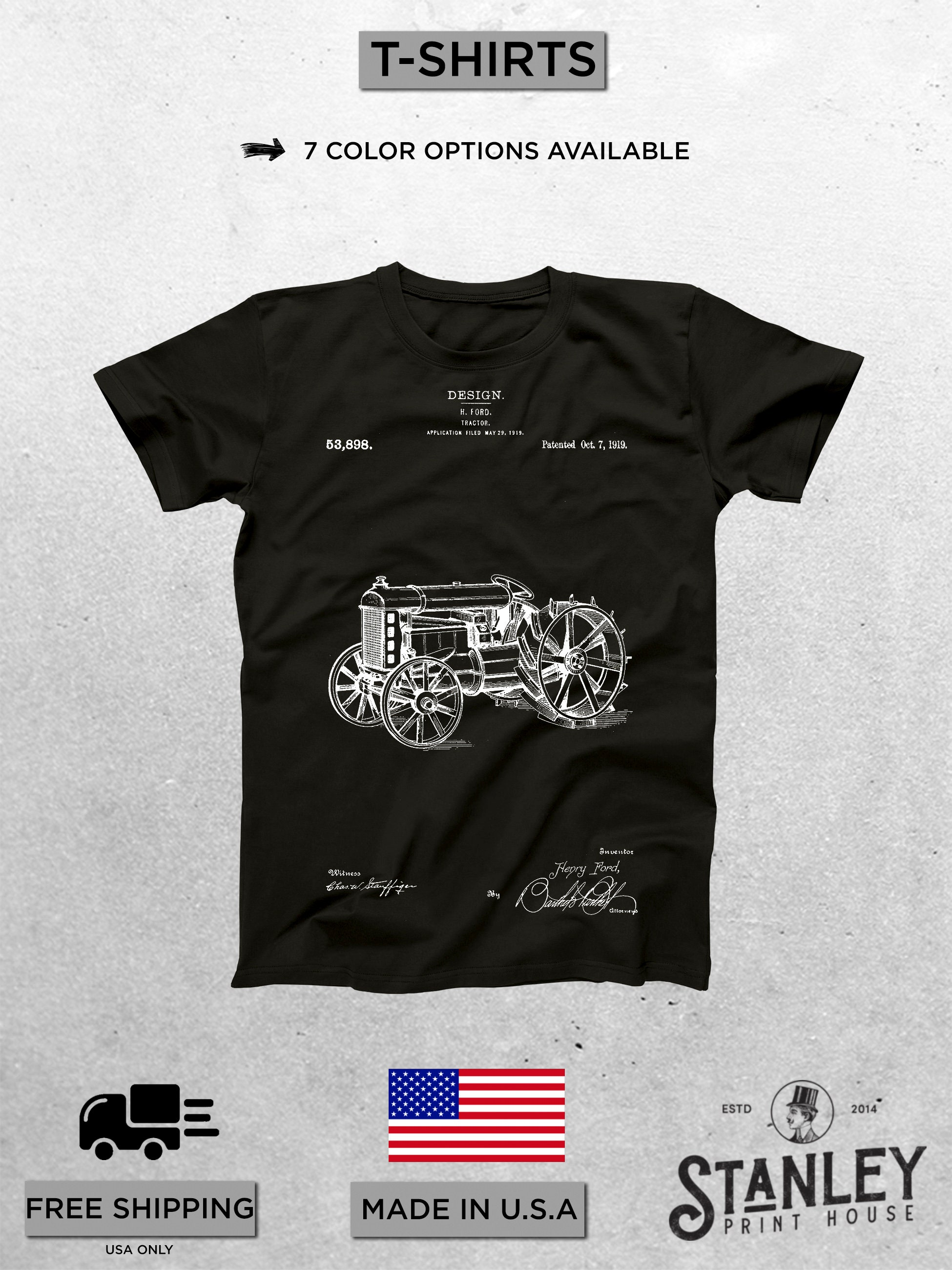Tractor Patent T Shirt Tractor Blueprint Patent Print T Shirt Vintage