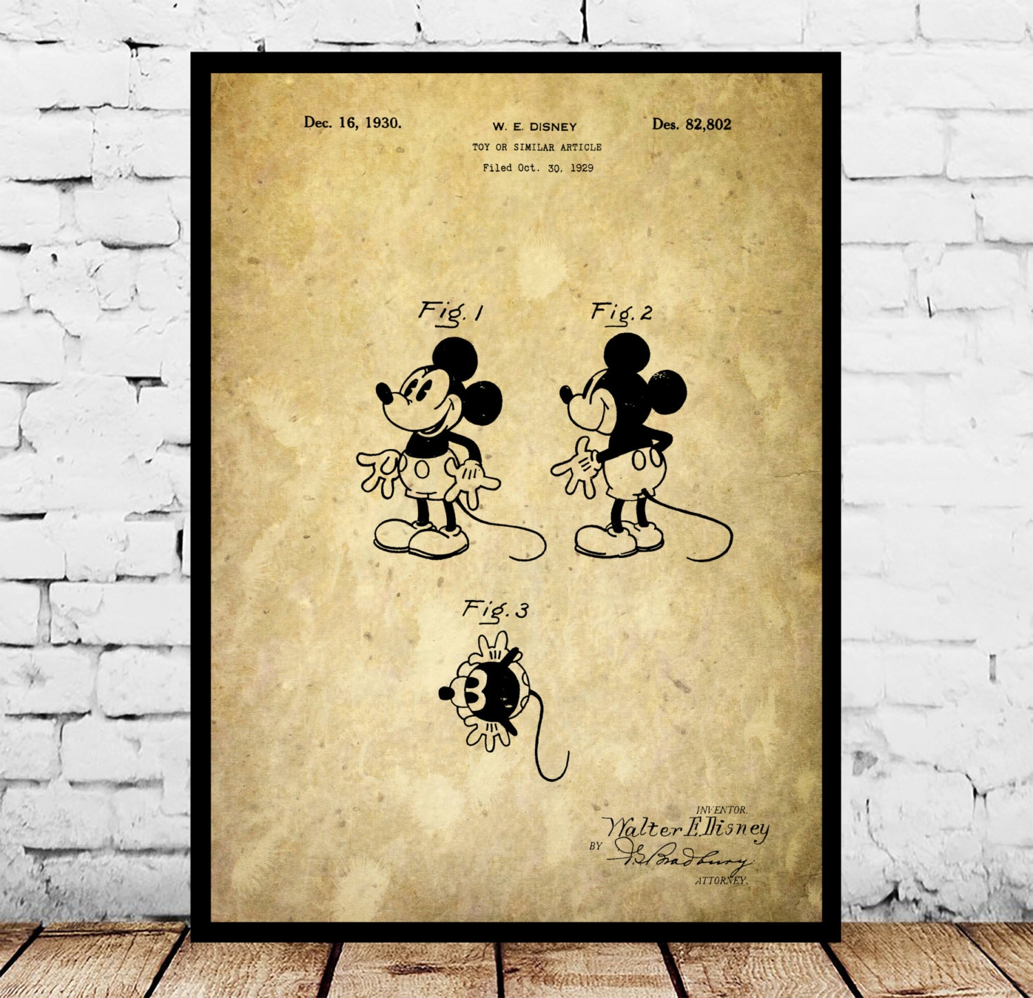 Disney Mickey Mouse Patent, Mickey Mouse Poster, Mickey Mouse Print ...