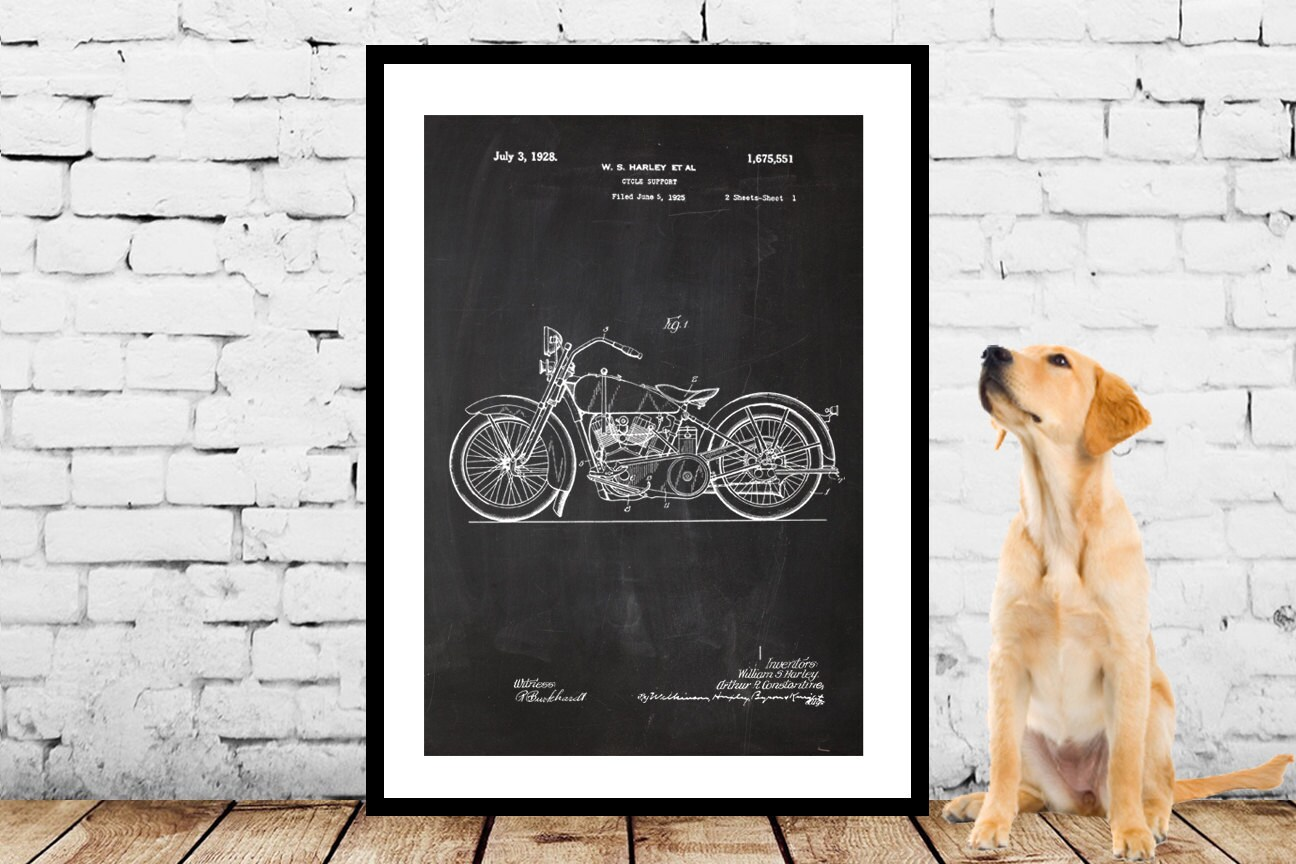 Harley davidson motorcycle blueprint patent poster wall art poster harley davidson motorcycle blueprint patent poster wall art poster harley motorcycle print wall art poster patentprints harley art malvernweather Image collections