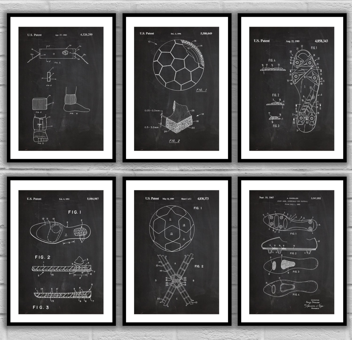 6ce52758ce019 Soccer Patent Prints - Set of SIX - Soccer Ball Patent Poster, Soccer ...
