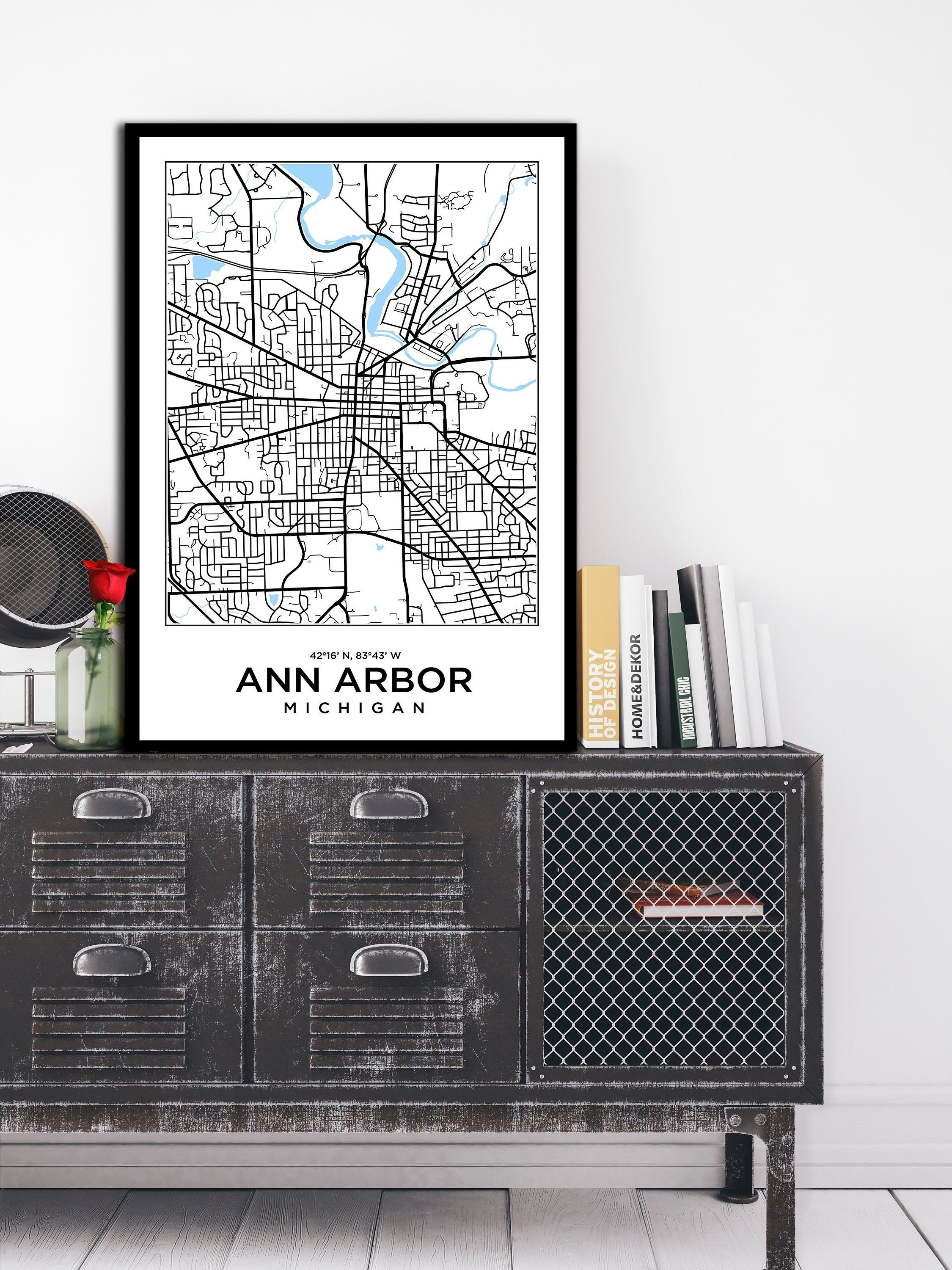 Ann Arbor Poster Michigan Map Print Art Print Modern Art Home