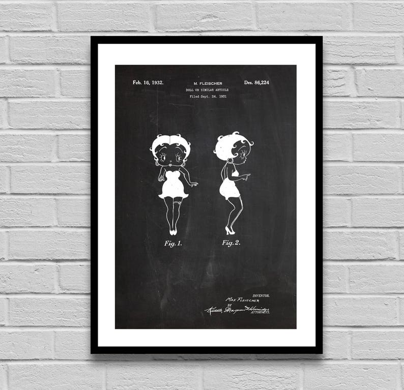 Vintage Doll Patent, Betty Boop Patent Poster, 1932 Doll Blueprint,  Collector's Print, Home decor, Vintage art, Betty Boop p1339