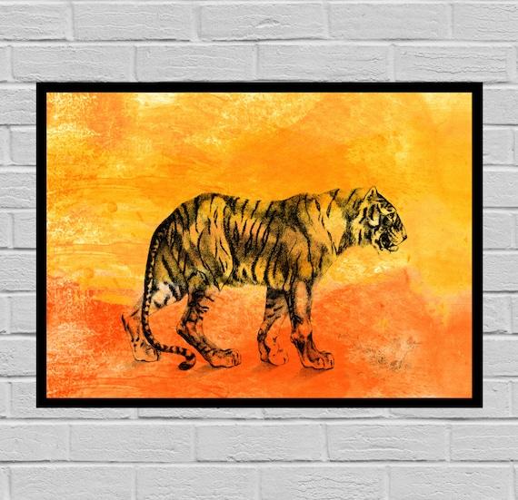 ... Antique Tiger Print, Watercolor Paper, Vintage Tiger Art, Tiger Poster,  Vintage Tiger
