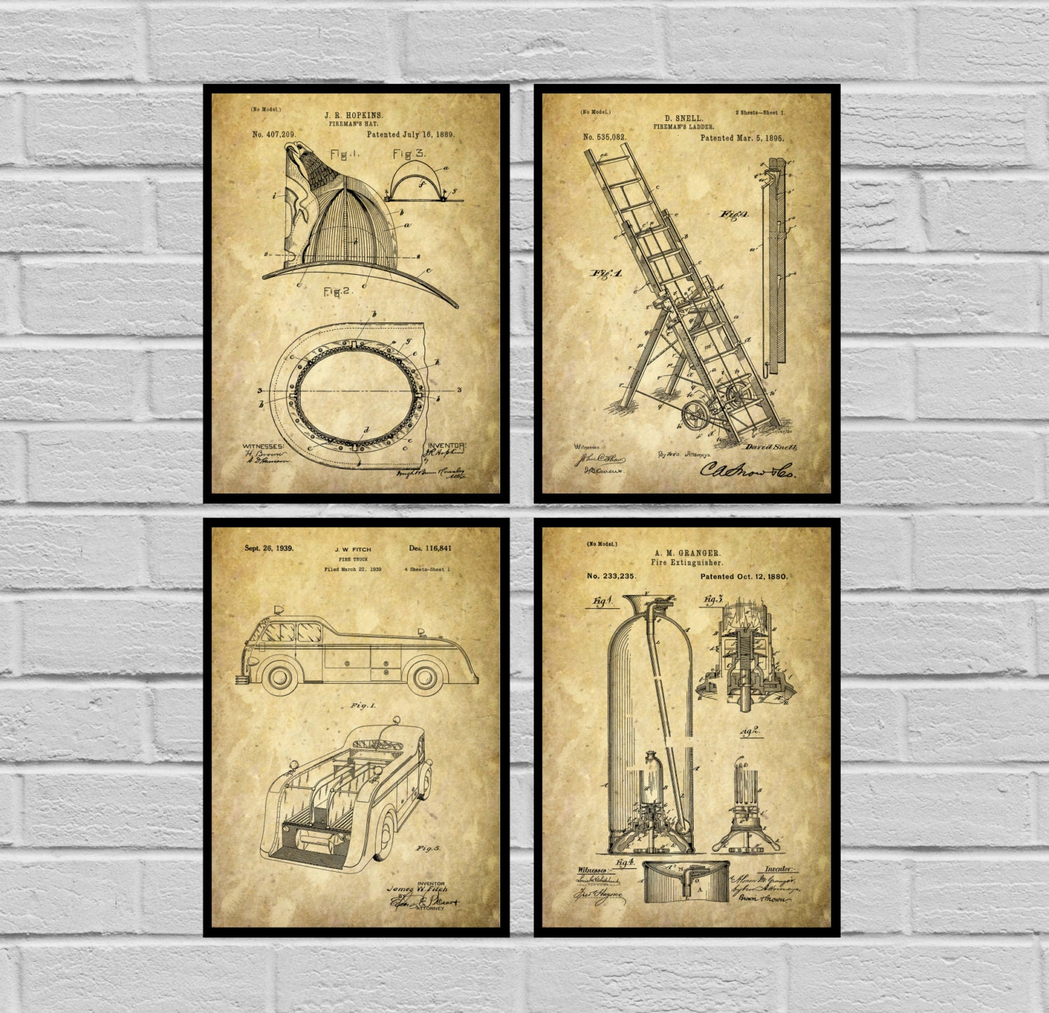 Firefighter Patent Firefighter Poster Firefighter Art Firefighter ...