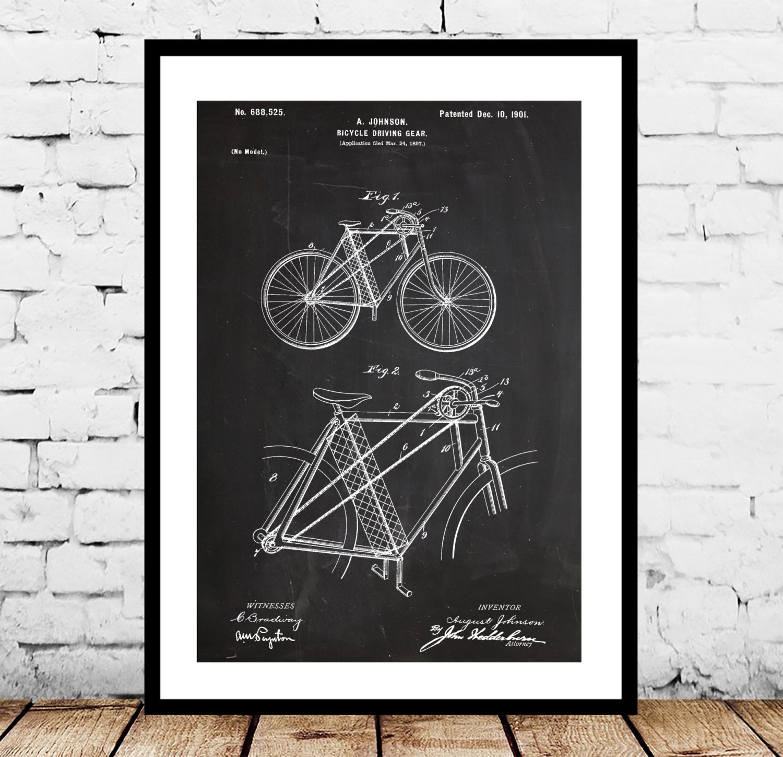Bicycle Patent Bicycle Poster Bicycle Print Bicycle Art | Etsy
