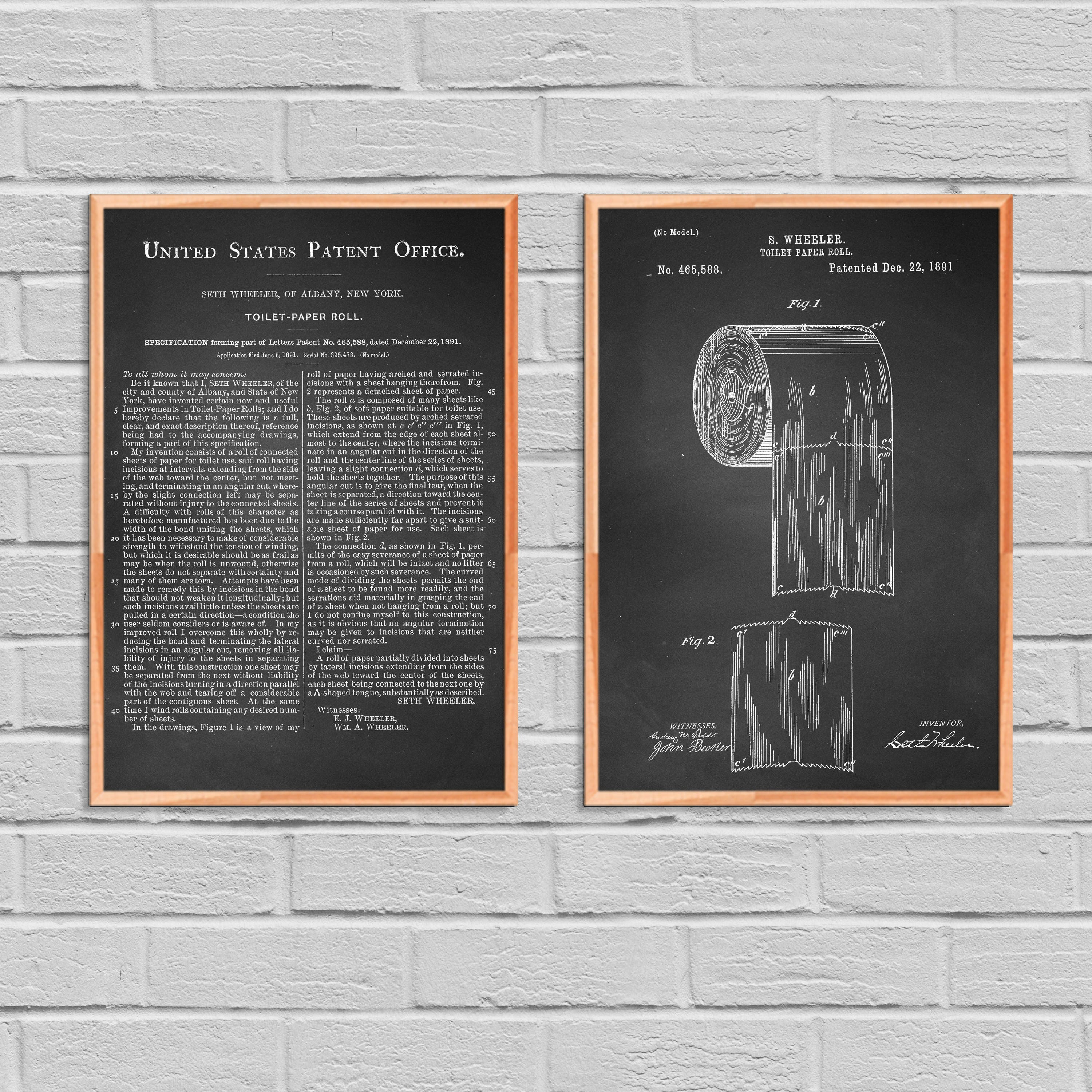 Toilet paper patent set of 2 toilet paper bathroom decor toilet paper patent set of 2 toilet paper bathroom decor washroom decor toilet paper vintage art bathroom blueprint print 2p00b malvernweather Image collections