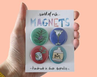 Gin Magnet Set, Gin Lover Gift, Gin Button Magnet, Gin Fridge Magnets, Illustrated Magnet Pack, Fun Magnets, Colourful Fridge Magnets