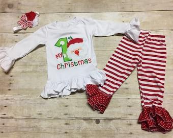 Christmas sale,My 1st Christmas Outfit Embroidery Applique, Girls My 1st Christmas Outfit, Baby's First Christmas,Kids Christmas Applique