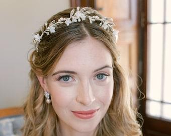 SPENCER   wedding tiara, leaf wedding crown, silver flower bridal  crown, bridal hair accessories, bridal headpiece, floral tiara