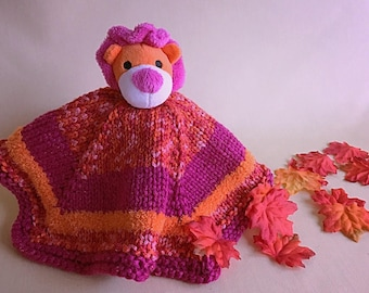 Hand-Knit Lion Lovey Security Blanket Woobie